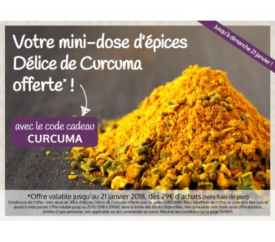 Mini-dose d'épices Délice de Curcuma offerte ! (mini-dose de 30ml d'épices, offre non cumulable avec toute autre offre en cours)